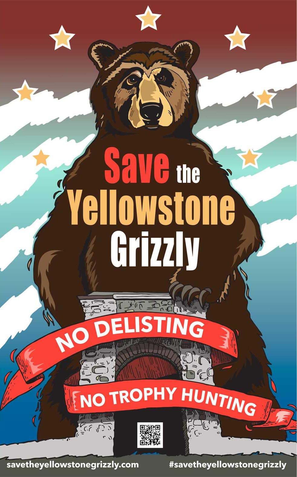 Save the Yellowstone Grizzly Poster Arch 11x17